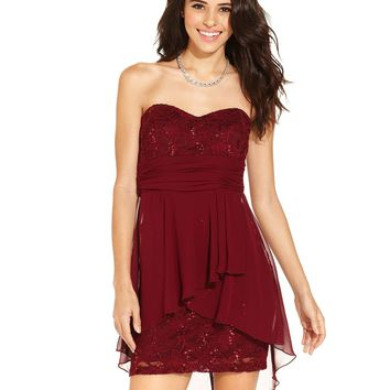 B Darlin Juniors Dress, Strapless Lace Sequin Sweetheart - Juniors Homecoming Dresses - Macy's