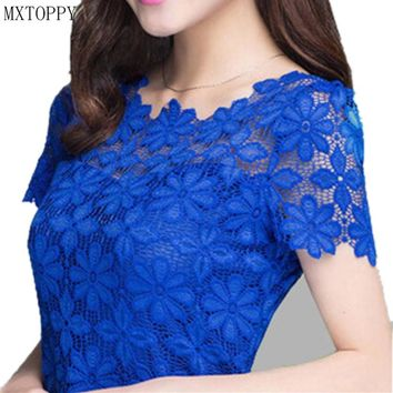 2018 New Summer Women Short Sleeve Shirts Lace Tee Tops Women Clothing Women Lace Blouse Sexy Floral Sheer Blouses M-5XL Blusas