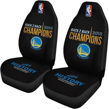 Golden State Warriors Car Seat Cover 2pcs 2018 NBA Back 2 Back Champions Seat Covers