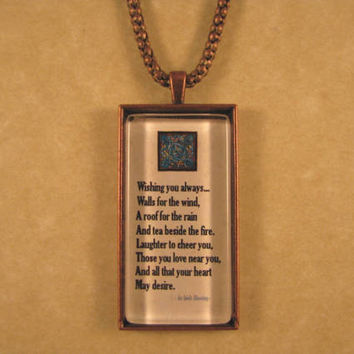Irish Blessing Quote Antique Copper Large Rectangle Glass Pendant with Chain Necklace Celtic Jewelry