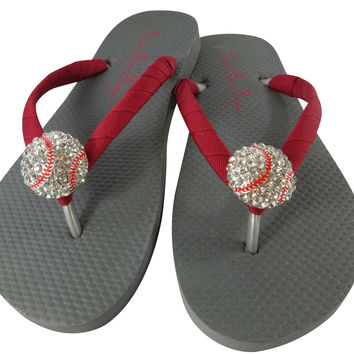 Gray & Red Baseball Flip Flops Sandals for Women and Girls