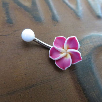 Pink Magenta Hawaiian Tropical Plumeria Hibiscus Flower Belly Button Ring Navel Piercing