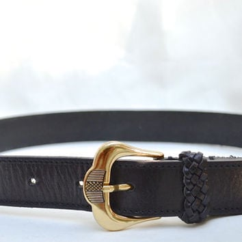 Leather Belt, Black Leather Belt, Belt, Belts, Black Belt, Italy Belt, Ladies' Belt, Women's Belt,1970s Belt, Size Small Belt, Small Belt