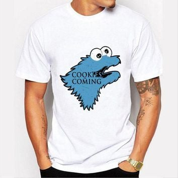 ONETOW Fashion Cookies is Coming Print T Shirt Men Game of Throne Funny Cookie Monster T-shirt For Male/boy Tshirt Tops O-neck Shirts