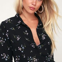 Passion Black Floral Print Long Sleeve Top