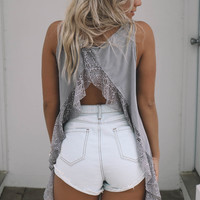 Cities We Know Taupe Gray Opened Back Lace Ruffle Top