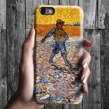 Wheat Field and Man- Van Gogh iPhone Case 6, 6S, 6 Plus, 4S, 5S. Mobile Phone. Art Painting. Gift Idea. Anniversary. Gift for him and her