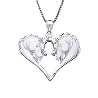 "Sterling Silver Horse with Horseshoe Necklace Pendant with 18"" Box Chain"
