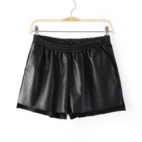 Summer PU Leather Pants Casual Slim Shorts [4917822084]