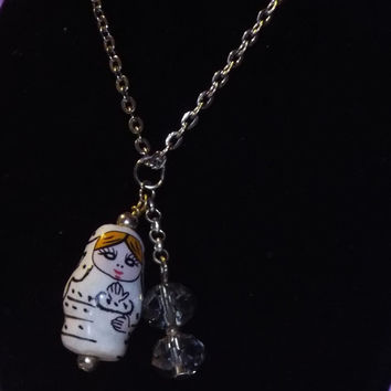 "Russian Story Doll w/Crystal on 18"" Chain"