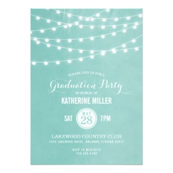 Summer String Lights Graduation Party 5x7 Paper Invitation Card