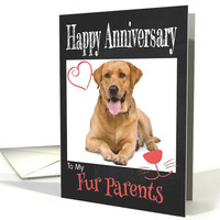 Retro Happy Anniversary to Fur Parents from Pet card