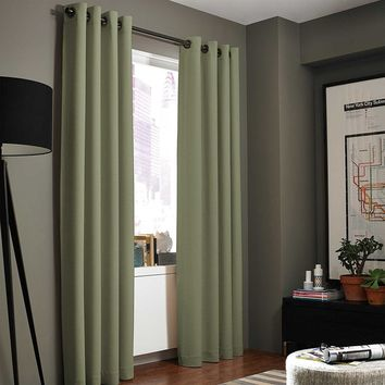 (#86) Hotel Quality Grommet Top, Jacquard  1 PANEL SAGE GREEN SOLID THERMAL FOAM LINED BLACKOUT HEAVY THICK WINDOW CURTAIN DRAPE