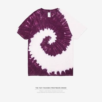 Skateboard Skater t-Shirt INFLATION  Men's Summer Handmade Tie Dye T Shirt Fashion Colorful Tops Hipster  Men/Women Top Tees T-shirt 8107S AT_45_3
