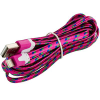 Hot Pink Rope Braided Heavy Duty Lightning Data Sync Cable Charger (10FT) for Apple iPhone 6 Plus / 6S Plus (5.5)