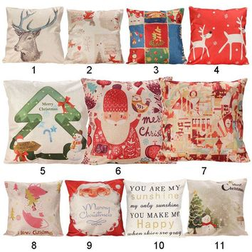 Christmas Cushion Cover Xmas Ambience Square Pillow Case Sofa Home Christmas Gifts ASLT