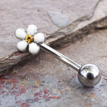 White Daisy Daith Piercing Rook Earring Eyebrow Ring