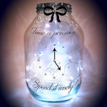 Hand painted 'Time is precious' Lantern / candle holder / night light.....MADE TO ORDER.
