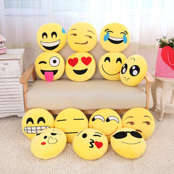 Cute Smiley Emoji Yellow Pillows Cushion Cartoon Facial QQ Expression Round Decorative Pillows Stuffed Plush Toy Gift for Kids