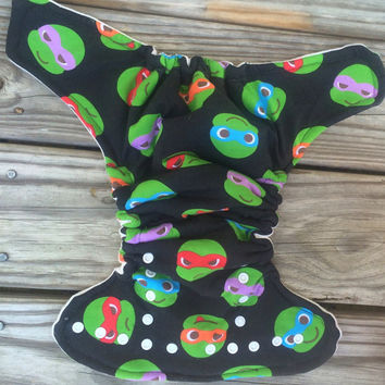 OS hybrid fitted diaper, Ninja Turtles diaper, cloth diaper, fitted diaper, ninja turtles cloth diaper, TMNT diaper