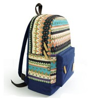 MP Multicolour Snowflakes Print Canvas School Bag Travel Backpack 042310 BDP 0528 Color Dark Blue