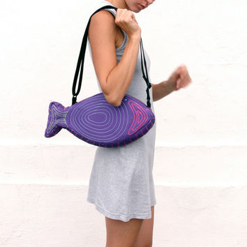 Fish Bag, Kawaii, Hipster, Unisex, Indie Fashion, Festival Party Accessory, Psychedelic, Neon Colors, Purple, Bright Colors, Fun Bag