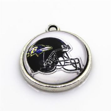 New Arrive 10pcs Helmet Baltimore Ravens Dangle Charms Football Sport Hanging Charms DIY Bracelet Jewelry Fittings Charms