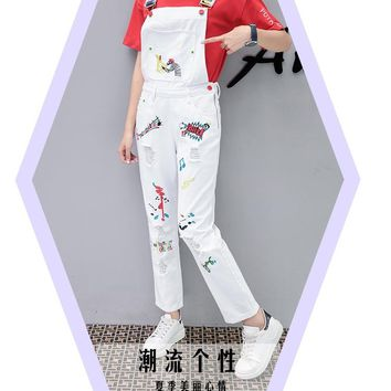 Spring Autumn White Denim jumpsuit womens Loose Denim overalls for women Vintage Hole Embroidery Letter rompers playsuit