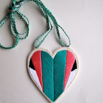 Embroidered heart ornament with note pocket in emerald green pink black and white geometric Christmas ornament