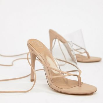 Missguided Clear Lace Up Toe Post Sandal at asos.com