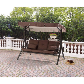 Brown 3 Seat Converting Outdoor Patio Swing Hammock With Canopy Sun Shade
