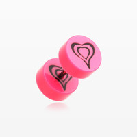 A Pair of Retro Heart UV Acrylic Faux Gauge Plug Earring