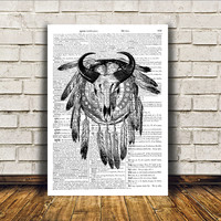 Macabre art Bull skull poster Anatomy print Tribal decor RTA99