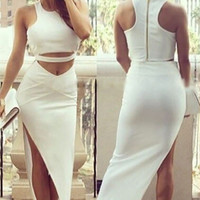 White Sleeveless Cropped Top and Asymmetric Maxi Skirt Set