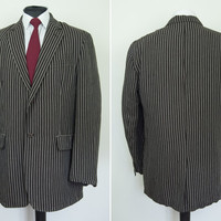Vintage Mens Biaggini Boating Blazer Jacket Brown Pinstripe Linen EU 50 UK 40 Size Large