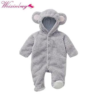 Spring Autumn Baby Clothes Flannel Baby Boy Clothes Cartoon Animal 3D Bear Ear Romper Jumpsuit Warm Newborn Infant Romper