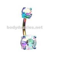 Rainbow Colorline Brilliant Sparkle Gem Prong Set Belly Button Ring Navel Ring 14ga