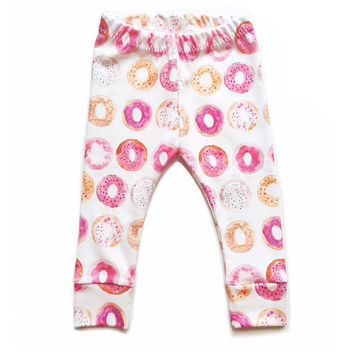 Organic Watercolor Donut Cuff Leggings - baby leggings // children leggings // organic leggings // children pants // cuff leggings