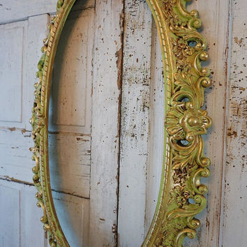 Ornate oval green frame wall hanging shabby cottage chic huge distressed gold w/ apple lime mixed green French home decor anita spero design