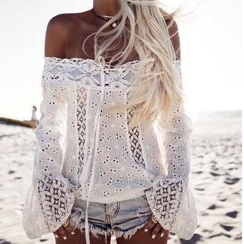 Sexy Lace Long-Sleeved T-Shirt Top