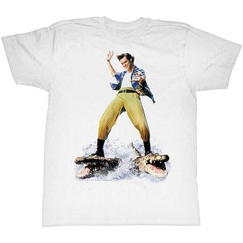 Ace Ventura T-Shirt Pet Detective Crocodile Surfing White Tee
