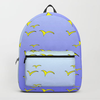 Birds in the blue sky 1-bird,sky,hope,feathers,jaws,eggs,aves,wing Backpack by oldking