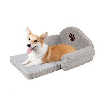 Fashion Dog Bed Pet Soft Cushion Kennel Cute Paw Design Pet Sofa Gray Color Puppy Collapsible Bed Pet Supplies Signature Cotton