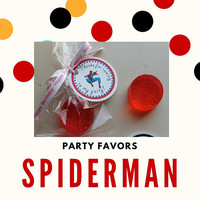 Spiderman Party Favors with Tags & Bags - Spiderman Inspired Super Hero Soap Birthday Party Favors with Personalized Tags Pack of 10