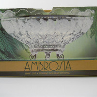 Ambrosia 24% Hand Cut Lead Crystal European Collection Footed Oval Bowl Centerpiece NOS