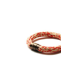 Bracelets | Jewelry | Accessory | Nautical | Rope Bracelets | Sailboat | Sailor | Sail Rope | Magnetic Clasp | Unisex | Soft Red Tan | US