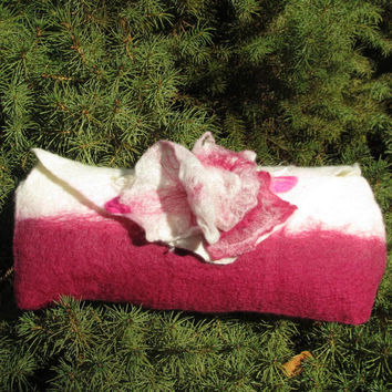 Felted Clutch Purse With 3D Flowers in Cream and Magenta Ultrafine Merino Wool With Mohair Locks. Wearable Art Accessory. Gift Idea Womans.