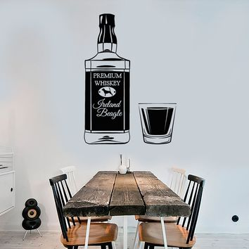 Vinyl Wall Decal Irish Whiskey Bottle Alcohol Glass Bar Stickers Unique Gift (1831ig)