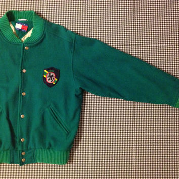 1990's, wool, varsity style jacket, in Emerald green, by Tommy Hilfiger
