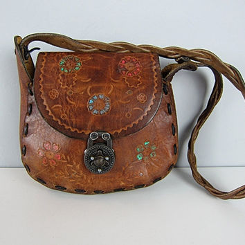 Vintage 70s Hippie Tooled Leather Bag Hand Painted Flowers Braided Strap Bohemian Floral Saddle Hobo